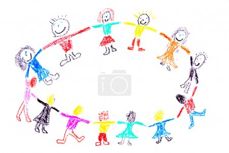 Photo for Child drawing of a colorful dancing children made with wax crayons - Royalty Free Image