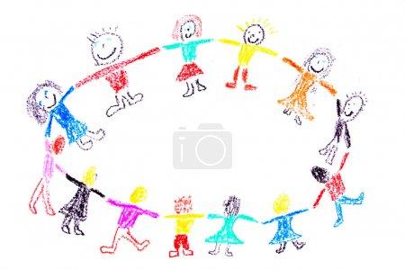 Photo pour Enfant dessin d'un enfants dansant colorées faites avec des crayons de cire - image libre de droit