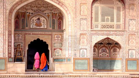 Photo for India, two women walking in the Amber Fort, Jaipur - Royalty Free Image