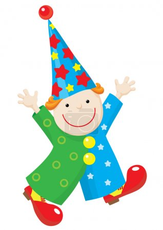 Illustration for Illustration of a funny puppet clown in stars and circles costume, red shoes and stars hat. Clown run with raised hands and smile. - Royalty Free Image