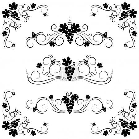 Illustration pour L'ensemble de l'élément de conception de raisin. Illustration vectorielle . - image libre de droit