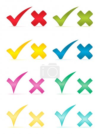 Check marks and crosses.Vector illustration.