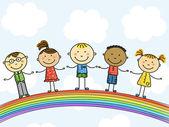 Funny kids on a rainbow Vector illustration
