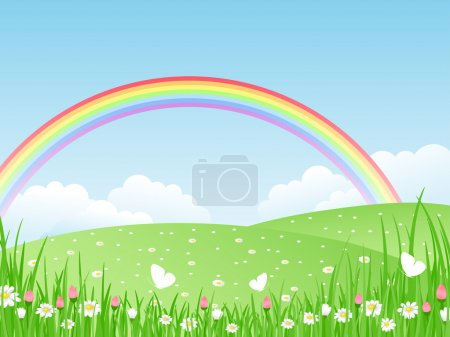 Illustration for Beautiful summer landscape with rainbow. Vector illustration. - Royalty Free Image