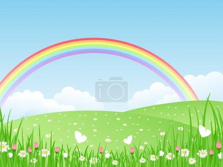 Illustration pour Beau paysage estival avec arc-en-ciel. Illustration vectorielle . - image libre de droit