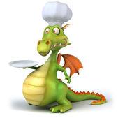 Drak šéfkuchař 3d ilustrace