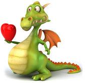 Drak s srdce 3d ilustrace