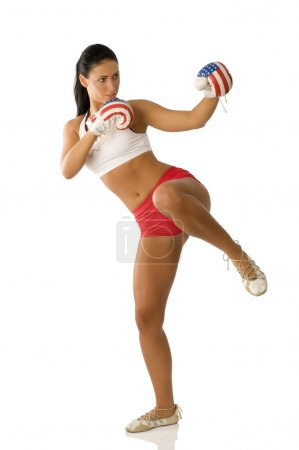 Kick boxing woman