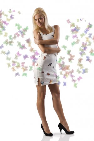 Blond girl white dess