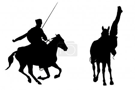 Photo pour Silhouettes des deux cosaques - image libre de droit