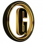 3D Letter g in circle. Black gold metal...