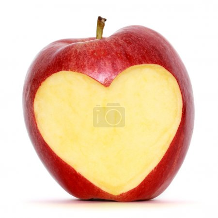 Photo for Red apple with heart shape - Royalty Free Image