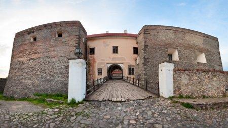 Spring Zolochiv castle bridge gate view (Ukraine)