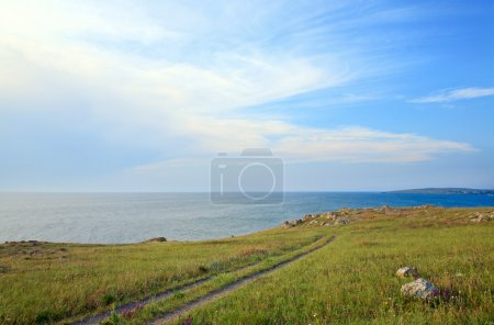 Earth road on prairies near summer sea coast