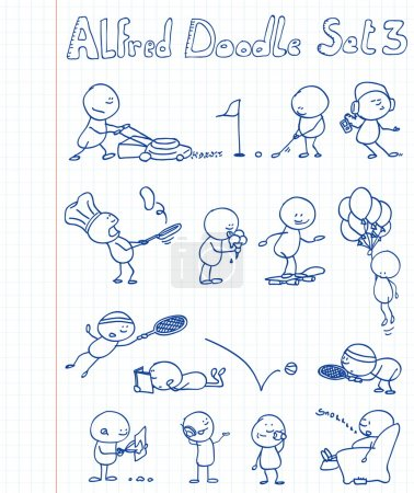 Illustration for 14 new, cool and funny doodles featuring Alfred Doodle in different situations. - Royalty Free Image