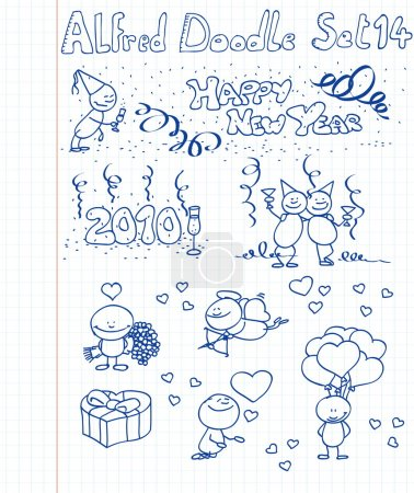 A happy new year / valentine collection of doodles...