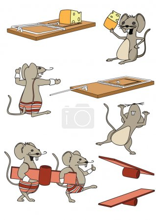 A funny set mice in a cartoon style