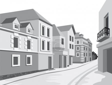 Illustration for Street views of the city with historical buildings - Royalty Free Image
