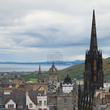 Photo for View from Edinburgh castle towards Royal Mile, Firth of Forth in the distance, gothic, medieval, spire, church, cathedral, city, Scottish, Scotland, capital, - Royalty Free Image