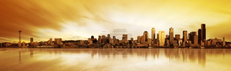 Photo for Panoramic Image of the city of Seattle at sunset - Royalty Free Image