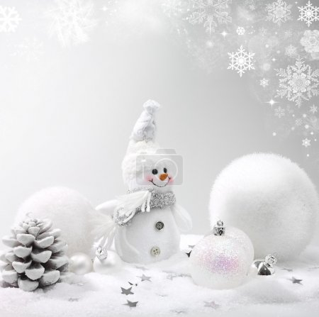 Photo for Christmas background with stars and snowflakes snowman - Royalty Free Image