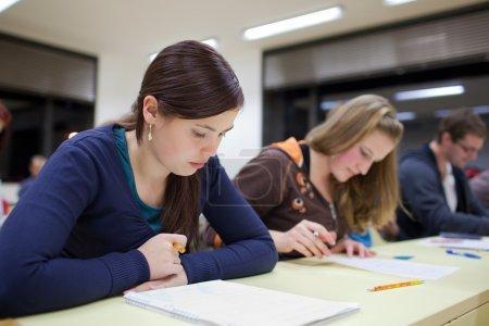 Photo pour Jolie étudiante assis un examen dans une salle de classe pleine d'étudiants (peu profonde DOF ; image tonique de couleur ) - image libre de droit