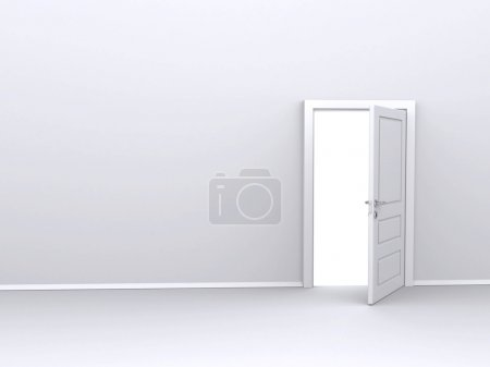 Photo for Open white door (3d render) - Royalty Free Image