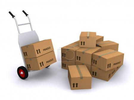 Photo for Hand truck with cardboard boxes on a white background - Royalty Free Image