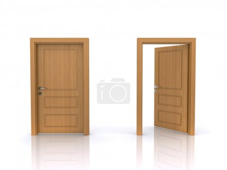 Photo for Open and closed doors on a white background (3d render) - Royalty Free Image