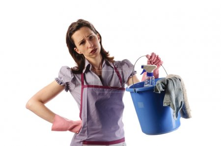 Housewife with cleaning supplies