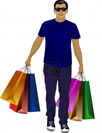 Illustration for Happy man spectacled with packages in hand - Royalty Free Image