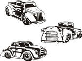 Three simple retro hot rods with flames Vinyl-ready EPS Illustrations black and white sketches