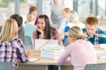 Group of students study in classroom