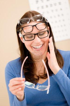 Optician client choose prescription glasses