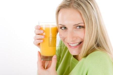 Healthy lifestyle - woman with orange juice