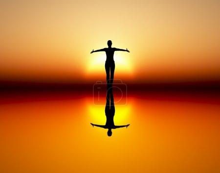 Photo pour Fille dansante au soleil levant comme symbole de liberté, de joie, d'élégance et de démocratie . - image libre de droit