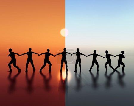 Photo pour Illustration de l'esprit d'équipe, esprit d'équipe, vision et leadership. - image libre de droit