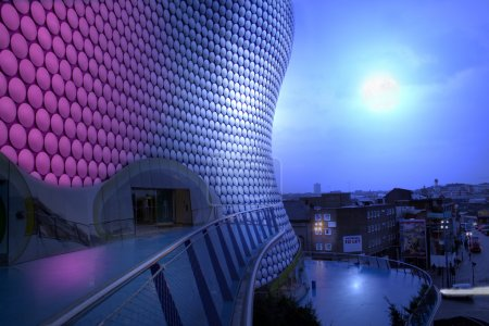 Bullring building and view of birmingham at night ...