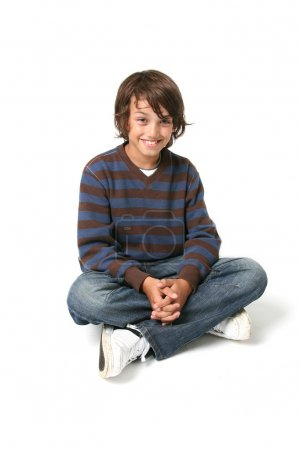 Photo for Child boy sitting. happy kid sat isolated on white background with jeans - Royalty Free Image