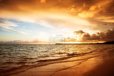 Photo for Sunrise and atlantic ocean in Dominican repablic - Royalty Free Image