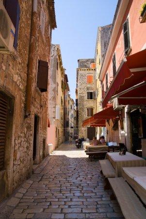 Street of Rovinj city in Croatia