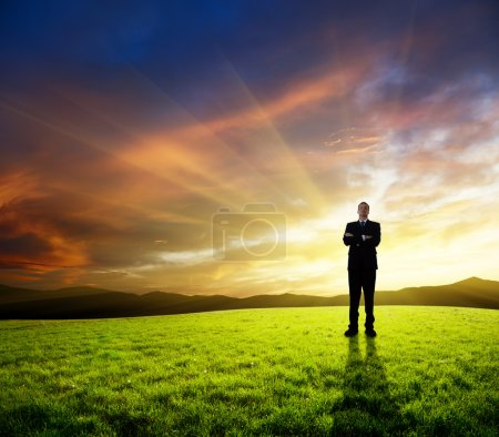 Young businessman on green field and sunset