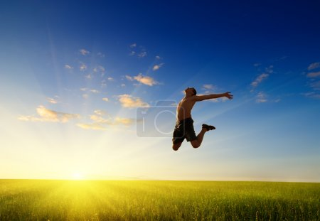 Jump of happy man