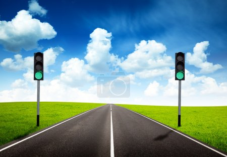 Photo for Road and green traffic light - Royalty Free Image