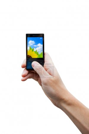 Cell phone in hand isolated on the white
