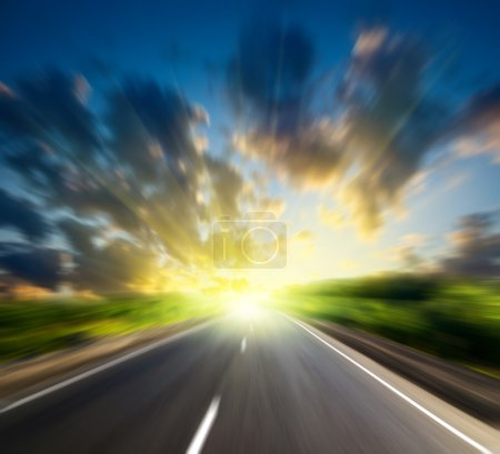 Photo for Motion blur road and sun - Royalty Free Image
