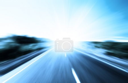 Blur road and sun