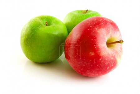 Green and red apple isolated on the white