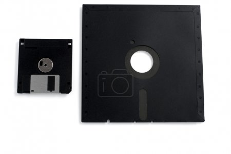 Two black floppies small and large...