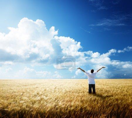 Photo pour Heureux jeune homme reste sur le champ de blé - image libre de droit